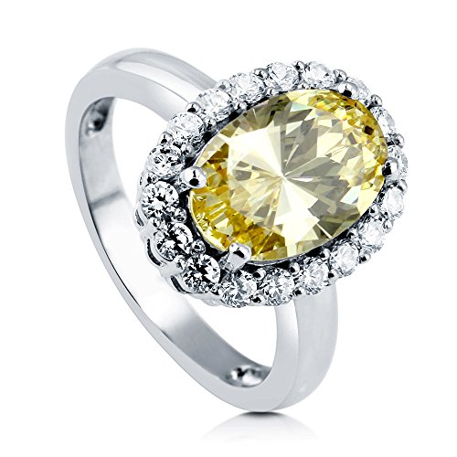 BERRICLE Rhodium Plated Sterling Silver Oval Cut Cubic Zirconia CZ Halo Engagement Ring Size 7 Canary Engagement Rings