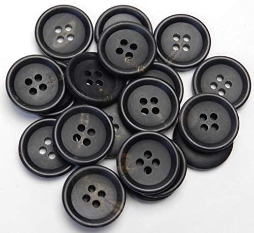 黒色系 水牛ボタン 20mm 4穴 スーツ ジャケット 最適 20個入り VDK322-20-BK-223