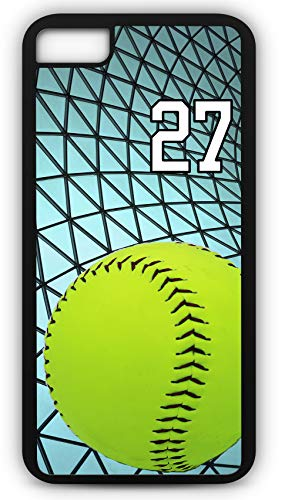 iPhone 6s Case Softball S027Z Choice of Any Personalized Name or Number Tough Phone Case by TYD Designs in Black Plastic and Black Rubber with Team Jersey Number 27