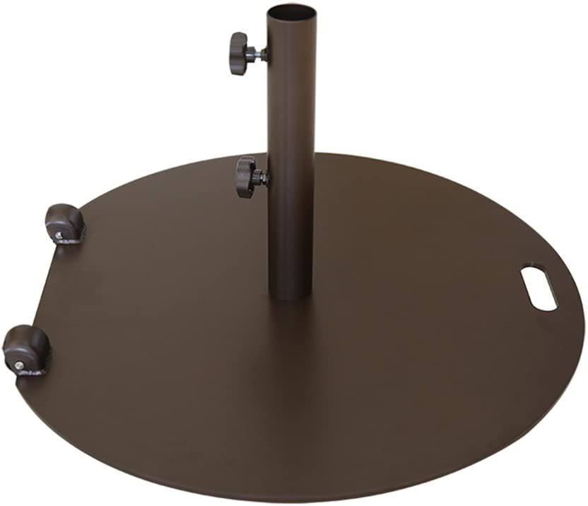 Abba Patio 55 lb. Steel Market Patio Umbrella Base Stand with Wheel and 2 Separate Poles for 1-1 2 and 1-7 8 Diameter Umbrella, Brown
