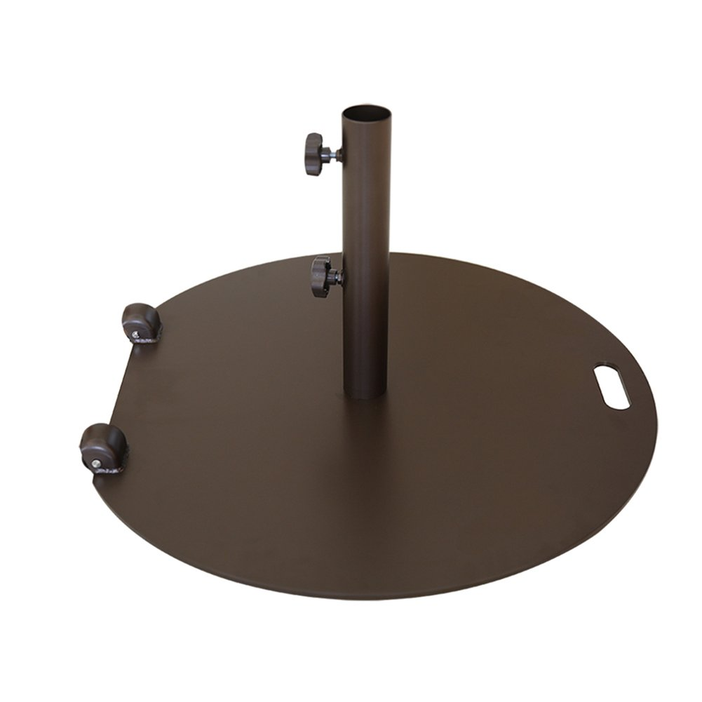 Abba Patio 55 lb. Steel Market Patio Umbrella Base Stand with Wheel and 2 Separate Poles for 1-1/2'' and 1-7/8'' Diameter Umbrella, Brown