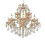 Vintage Golden Teak Crystal Chandelier Lighting Ceiling Light Fixture in Shiny Gold 4 Sizes (12-Light) Review