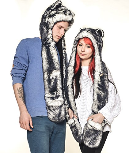 Husky 100% Authentic Hand Made animal hat Top Quality (Faux Wolf like SpiritHood Spirit Hood Scarf Paws Mittens)