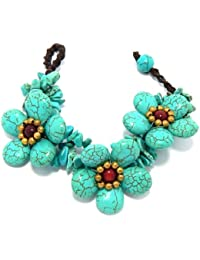 "Luxury Bib Bauble Bracelet 7"" Turquoise Flowers 90-890-2070"