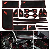 16-pc Anti Dust Cup Holder Inserts, Center Console Liner Mats, Non-Slip Premium Custom Interior Door Pocket Liners, Compatible with Toyota Camry Accessories 2018-2021