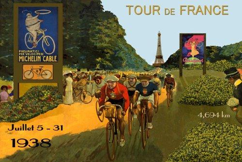 "Bike 1938 Tour de of France Paris Eiffel Tower Michelin Tires Peugeot Bicycle Paris French 20"" X 30"" Image Size Vintage Poster Reproduction we Have Other"