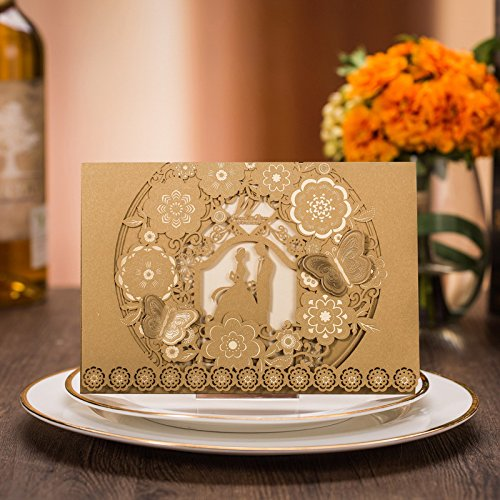 PONATIA 25 PCS MR & MRS Laser Cut Square Wedding Party Invitations Cards Set with Lace Flowers for Engagement Wedding Party (Gold Bride and Groom)
