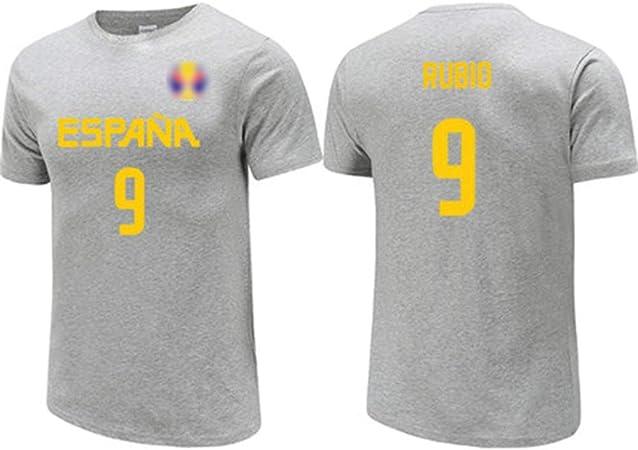 Ricky Rubio No.9 España Equipo Nacional de la camiseta, jerseys de los hombres, / alta elasticidad / ocasional de la camiseta unisex transpirable, 2019 Copa del Mundo de Baloncesto, gris,L(173~178)CM: Amazon.es: Hogar