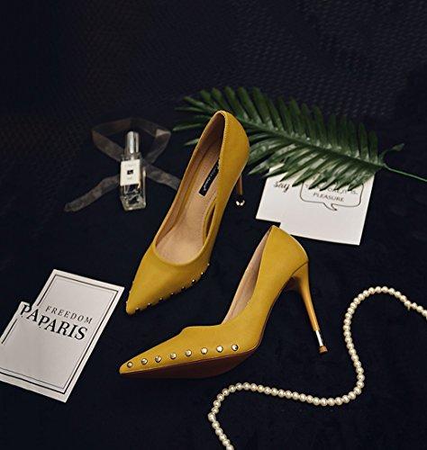 Color Black Fashion Size Shoes Yellow Toe Feminine Mouth Stiletto Retro Elegant Shallow Shoes Pointed Dream Heel 37 10 Wedding Rivets 5cmPU TdxHO1qwq