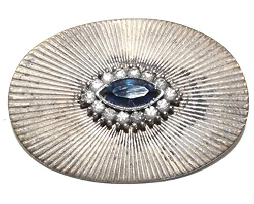 Vintage Sterling Silver Sunburst Brooch Pin with Cut Cobalt Blue Rhinestone ()