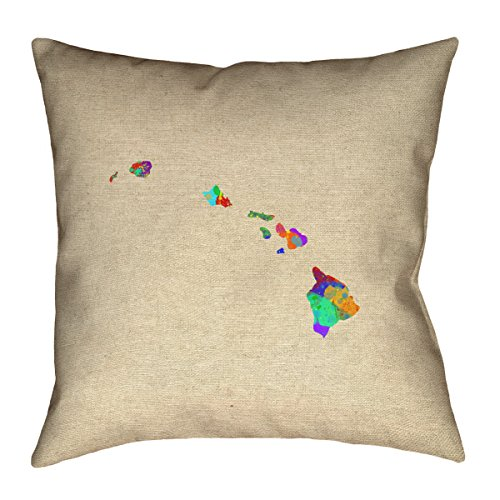 ArtVerse Katelyn Smith Hawaii Watercolor 28'' x 28'' Floor Pillows Double Sided Print with Concealed Zipper & Insert by ArtVerse