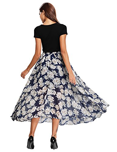 Mousseline Casual Fluide Floral Jupe Plage Flamenco 2 Fleuri Floral Longue lastique Dress Tull t Grande Taille Bleu de en Boho Plisse en Bohme Soie Femme vase Imprim FnnygWZ