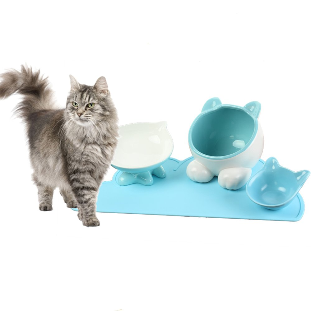 bluee ViviPet Q Bowls and Big Head Water Bowl and Mini Bowl for Cat and Dog with Silicone Food Mat Set of Four