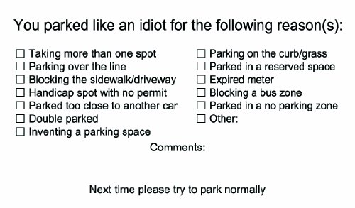 You parked like an idiot business cards bad parking cards office you parked like an idiot business cards bad parking cards office supplies general supplies paper products colourmoves