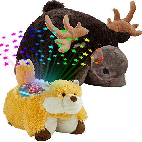 "Pillow Pets Wild Set, 16"" Moose Wild Fox Sleeptime Lites, Plush Stuffed Animal & Night Light, Multicolor 061210MF"