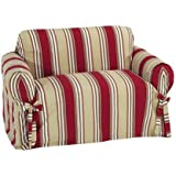 Classic Slipcovers Printed Classic Stripe Canvas Loveseat Slipcover, Red