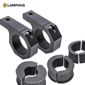 "LAMPHUS Cruizer LED Off-Road Light Horizontal Bar Clamp Mounting Kit 1""/ 1.5""/ 1.75""/ 2"" [2 Clamps] [Includes Allen Hex Key] [User-friendly] - For Light Bar Bull Bar Tube Clamp Roof Roll Cage Holder"