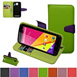 BLU Life Play 2 Case,Mama Mouth [Stand View] Folio Flip Premium PU Leather [Wallet Case] With Built-in Media Stand ID Credit Card / Cash Slots and Inner Pocket Cover Case For BLU Life Play 2 L170A,Green