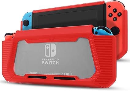 Estuche de Nintendo Switch con Protector de Pantalla, Broche de Goma Slim de Trabajo Pesado en Funda de Estuche Duro para Nintendo Switch con absorción de Impactos y Anti-arañazos (Rojo): Amazon.es: Electrónica