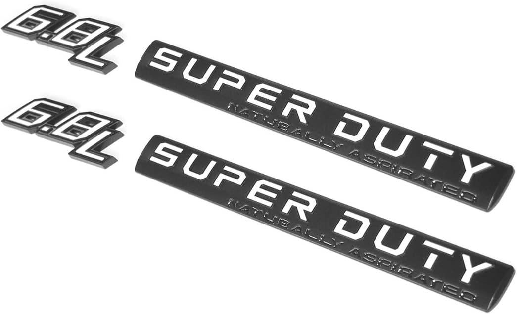 4pcs OEM 6.8L Superduty Emblem 6.8 L Super Duty Natubally Aspirated Side 3D Logo Badge Replacement for F250 F350 F450 Black White