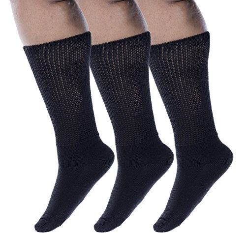 zaftig-womens-plus-size-crew-socks-100-cotton-3-pairs-black