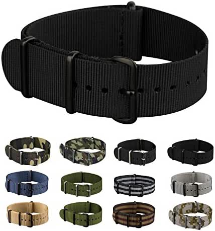 INFANTRY 20mm Nato Nylon Canvas Fabric Black Watch Band Replacement Interchangeable Brushed Buckle bands