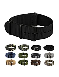 INFANTRY® Mens Military Army Nylon Canvas Fabric Wrist Watch Band Strap Black Replacement Brushed Buckle bands 22mm