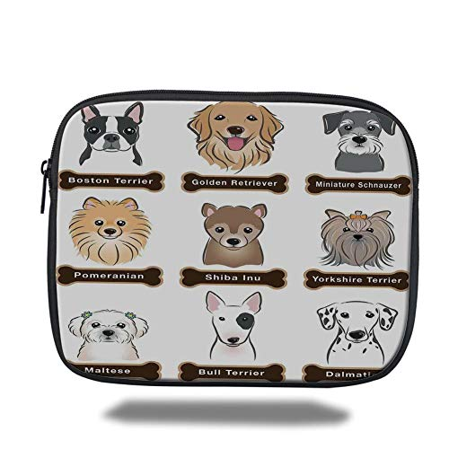 Tablet Bag for Ipad air 2/3/4/mini 9.7 inch,Dog Lover Decor,Various Type of Dogs Nameplate Boston Terrier Domestic Animal Faithful Loyal,Grey Cream White,3D Print ()