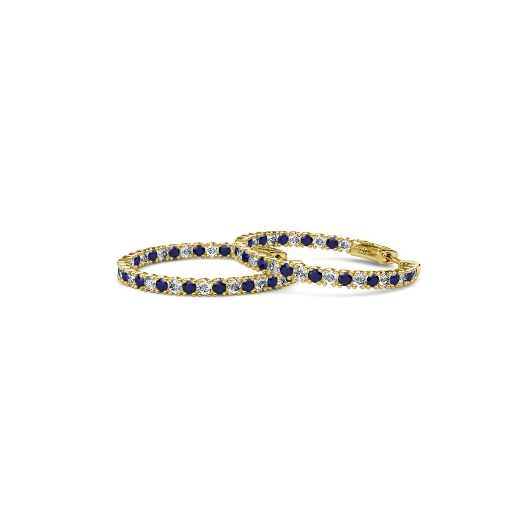 TriJewels Blue Sapphire and Diamond 2mm Inside-Out Hoop Earrings 1.85 Carat tw in 14K Yellow Gold