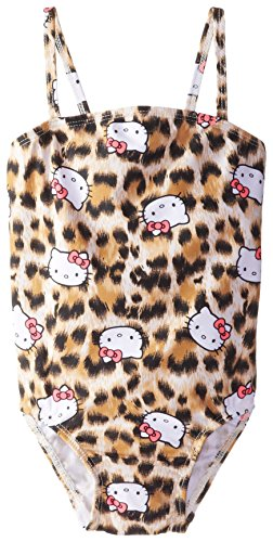 Hello Kitty Little Girls' Animal Print One Piece, Brown, 5/6 for $<!--$24.99-->