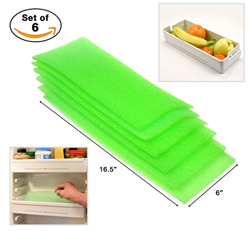 Dualplex Fruit & Veggie Life Extender Liner for Refrigerator Drawers (6 Pack) – Extends the Life of Your Produce & Prevents Spoilage, 6 X 16.5 Inches (Veggie Life)