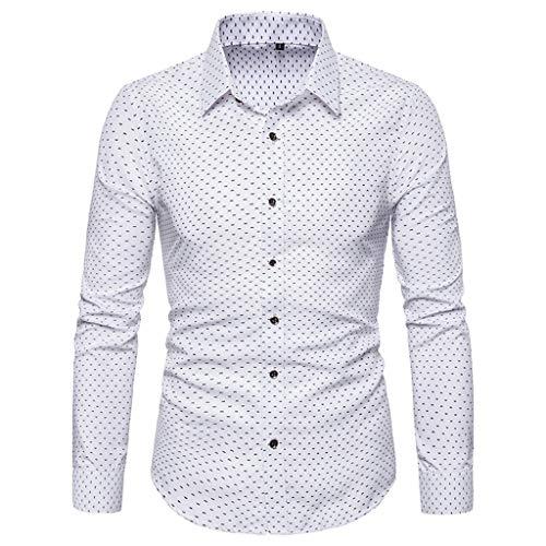 RAINED-Men's Dots Print Dress Shirt-Cotton Casual Long Sleeve Shirt Regular Fit Button Down Business Classic Fit Shirt White