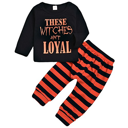 Mini honey 2Pcs Infant Toddle Baby Boy Girl Witches Ain't Loyal Print Top+Stripe Pant Halloween Costume Clothing Set (3-4 Years, Black) -