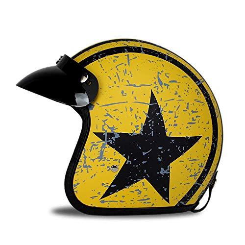 (KPTKⓇ 3/4 Open Face Helmet, Motorcycle Helmet Flat with Rebel Star Graphic Black + Yellow)