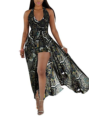 Farktop Women Floral Print Halter V-neck Backless Chiffon Maxi Long Beach Dress Overlay Shorts Jumpsuit Rompers (XXXL, peacock)