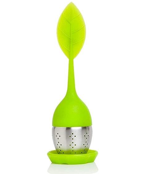 iNeibo, Infusor de té , colador de té de silicona y acero inoxidable con asa móvil en forma de hoja incl. salvamanteles
