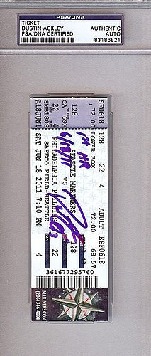 Dustin Ackley Signed First Home Run Game Ticket Seattle Mariners - PSA/DNA Authentication - Autographed MLB Baseball Tickets Home Run Ticket