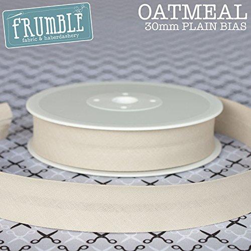 30mm Oatmeal Plain Bias 25m Roll - Bulk/Wholesale Binding Bunting Tape Sewing Trim Edging Frumble
