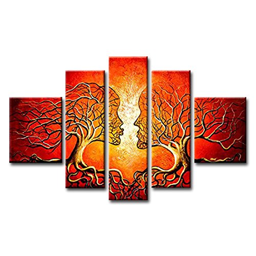 FLY SPRAY 5 Panels Framed 100% Hand Painted Oil Paintings Red Tree Couple Lovers Kissing Abstract Wall Art Home (Yellow Deco Trim)
