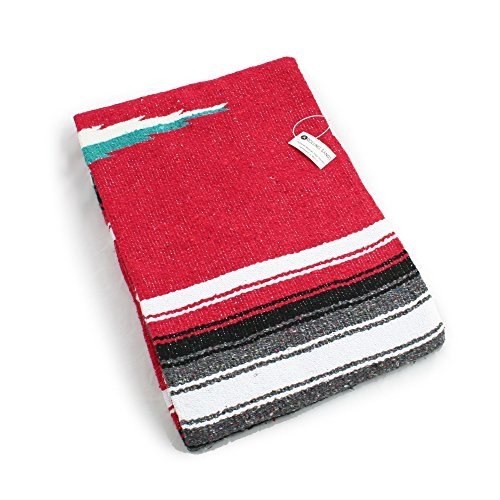 Hand Woven Diamond Mexican Yoga Blankets Red