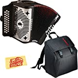 Hohner 3100GB Panther Diatonic Button Accordion Black with Padded Gig Bag and Polishing Cloth