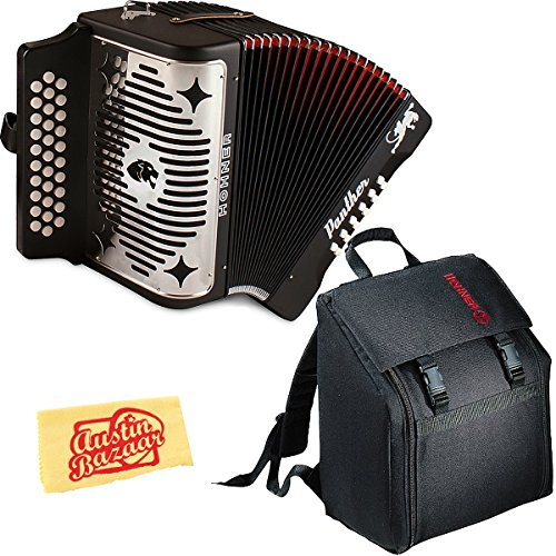 Hohner 3100GB Panther Diatonic Button Accordion Black with Padded Gig Bag and Polishing Cloth by HOHNER