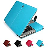 """GranVela MacBook Notebook Premium Quality PU Leather Sleeve bag, Skin Case Cover for Apple 15"""", 15.4"""" inch Macbook Pro with Retina Display-Blue"""