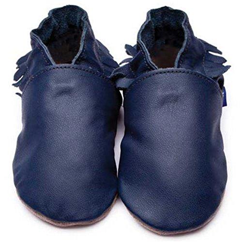 Azul Menina Polegadas / Jovens Sapatos Para Carrinhos Feitos De Couro De Luxo - Mocassins Sola Macia Azul Escuro