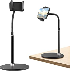 "Cell Phone Stand, Adjustable Height & Angle Phone Holder Gooseneck Flexible Arm Universal Phone Stand for Desk, Aluminum Alloy Desktop Cell Phone Holder Compatible with 3.5""-6.5"" Device (Black)"