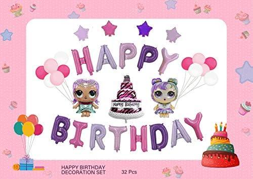 lolサプライズ 誕生日 飾り付け パーティー セット 人形 可愛い ピンク パープル ゲーム 女の子 バルーン 風船 happy birthday ガーランド ケーキ スター 32枚セット(5)