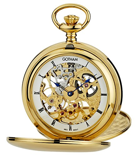 Gotham Men's Gold-Tone Mechanical Pocket Watch with Desktop Stand # GWC18804G-ST