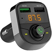 Wireless Bluetooth Receiver FM Transmitter for Car,Hands Free Call/Car Stereo Adapter,Dual USB Ports Support Fast Charger and Flash Drive Compatible for iPhone,Samsung,Most Smartphone Electronics