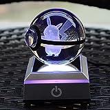 S-SO 3D Pokemon Pikachu Crystal Ball USB 7-Color Changing Night LED Desk Light