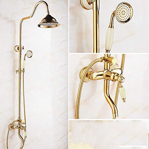 B Hlluya Professional Sink Mixer Tap Kitchen Faucet golden Jade shower head shower set full brass faucets cold water faucet antique bathroom shower, lift